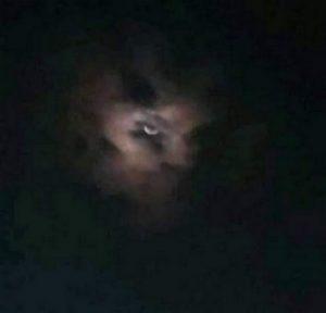 Un démon dans le ciel, la nuit.
